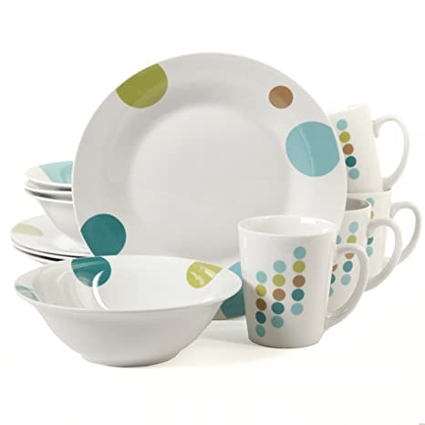 Gibson Home Retro Specks 12 Piece Dinnerware Set White  sc 1 st  Amazon.com & Amazon.com | Gibson Home Retro Specks 12 Piece Dinnerware Set White ...