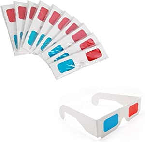KRISMYA 3D Glasses for Movies,10 Pairs 3D Glasses Red and Cyan White Frame Anaglyph Cardboard - Folded in Protective Sleeve