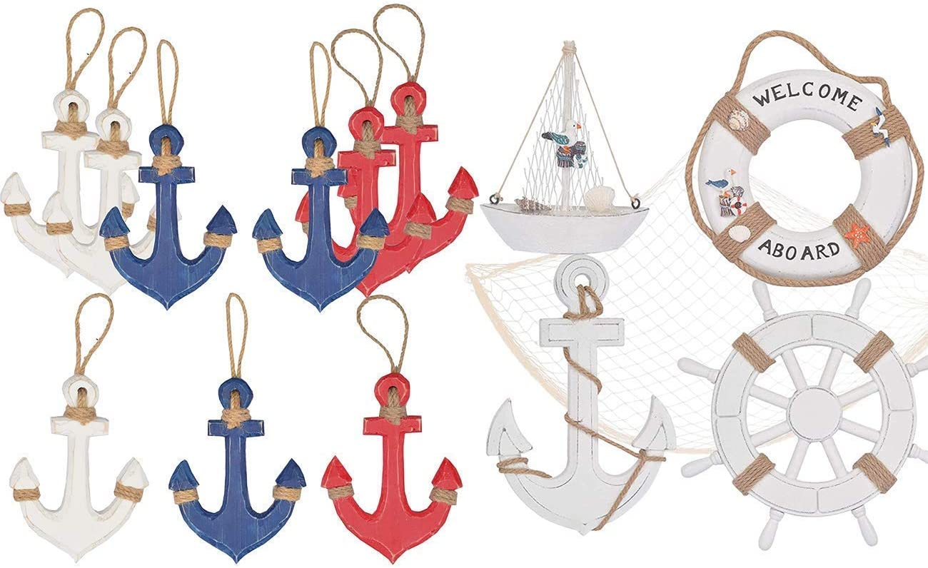 Perfect Hanging Decors for Home,Wooden Anchor Decor, Beach Wooden Boat Ship Steering Wheel Wall Decor, Nautical Life Ring Wall And Door Hanging Ornament Plaque, Welcome Abroad Life Ring Wall Décor