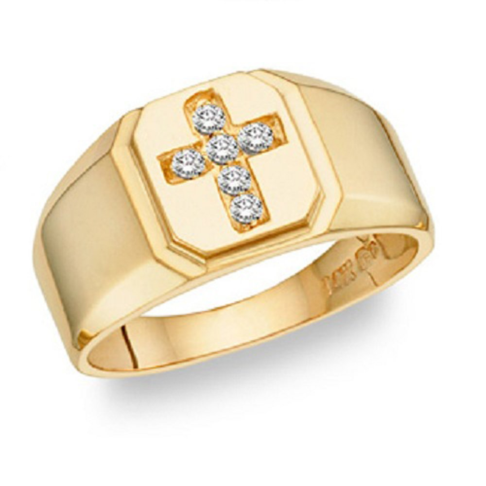 Silvernshine Jewels Diamond Accents Cross Men's Wedding Band Ring In 14K Yellow Gold Fn Sterling