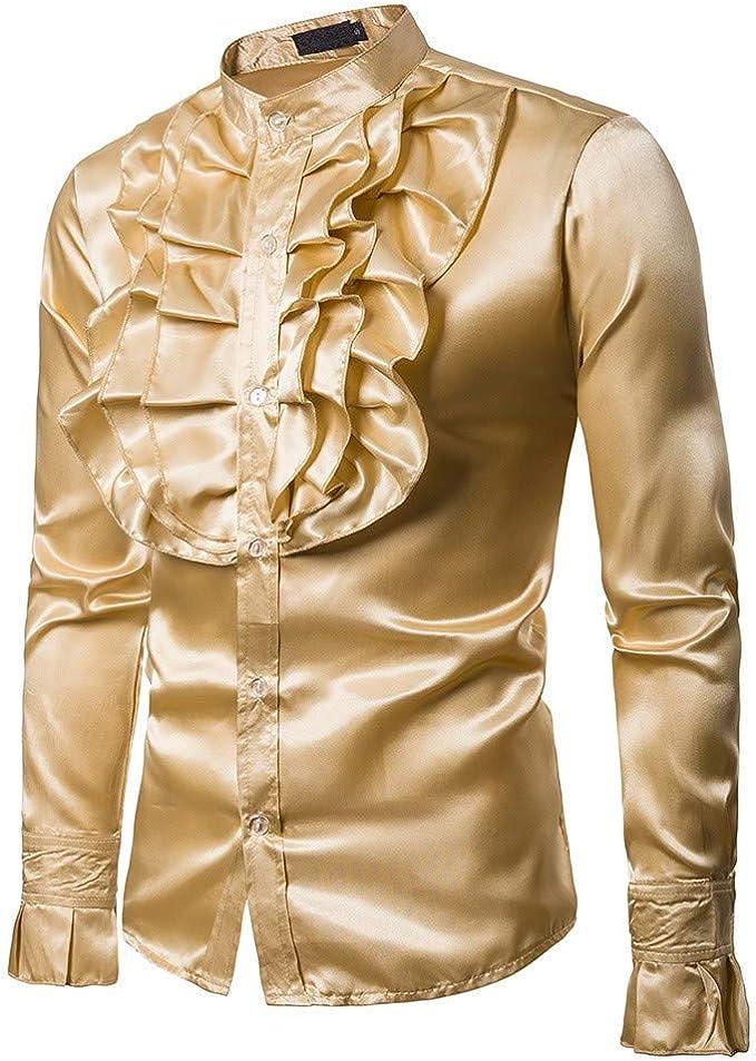 Camisa De Fiesta para Hombres Festiva Manga De Ropa Camisas Larga Camisas Casuales Camisa De Hombre Blusa De Noche De Color Liso Camisas De Vestir De Corte Slim Camisa De Seda: Amazon.es: