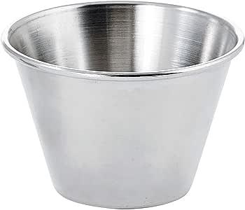 Winco SCP-40, 4-Ounce Stainless Steel Round Ramekin Condiment Sauce Cups, 1 Dozen Pack