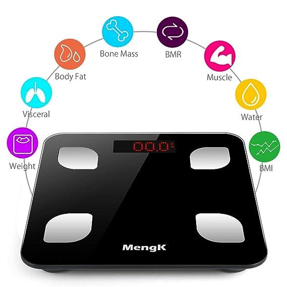 Báscula de Baño Digital, MengK Bluetooth Precisión Escalas de Grasa, 150KG/330Lb Báscula Grasa Corpora con App, con Análisis Corporal de Peso, ...