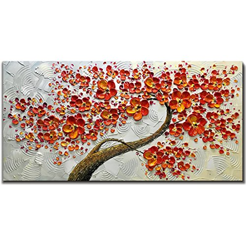 (Asdam Art 100% Hand Painted 3D Paintings On Canvas Ready to Hang White and Red Flower Oil Paintings Abstract Modern Artwork Tree Wall Art for Living Room Bedroom (24X48)