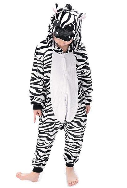 Kigurumi Pijama Animal Entero Unisex para Niños con Capucha Cosplay Pyjamas Zebra Ropa de Dormir Traje de Disfraz para Festival de Carnaval Halloween ...