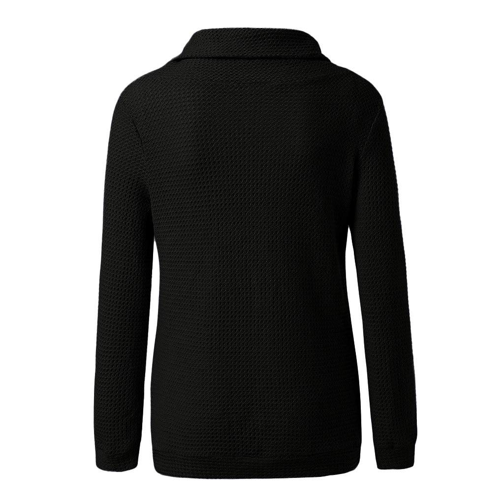 Wadonerful-Women Sweater Coat High Collar Long Sleeve Off Shoulder Solid Color Knitting Pullover Tops Blouse Outwear