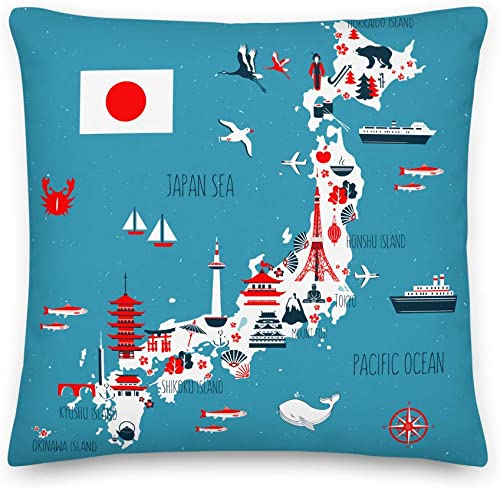 Axton Japanese Map Premium Throw Pillow