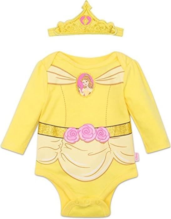93972a082ce4 Disney Princess Belle Baby Girls  Costume Long Sleeve Bodysuit and Tiara  Headband Yellow