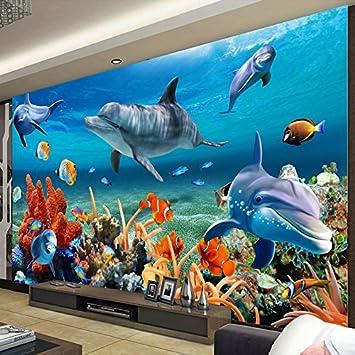 Yosot En 3D Personalizado Papel pintado De Peces Delfines Bajo El Agua Fondo De La Pared Del Acuario Papel De Pared De Los Niños-400Cmx280Cm: Amazon.es: ...