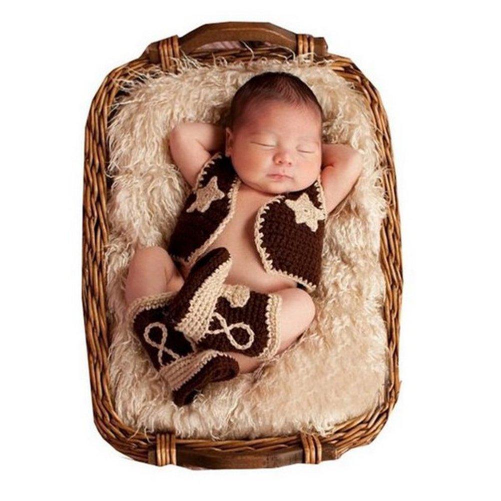Newborn Baby Photography Props Boy Girl Crochet Costume Outfits Cowboy suit BINLUNNU