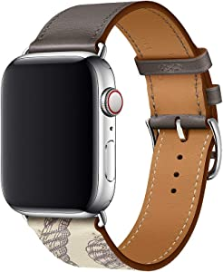 JL-BAND21 color replacement Apple Watch leather strap compatible with 44mm 40mm 42mm 38mm long, compatible with SE 6/5/ 4/ 3/ 2 /1 single-tour leather strap