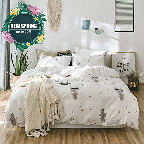 Cheap  Queen Size Duver Cover Set with Lovely Bear Print Patterns Modern Spring..