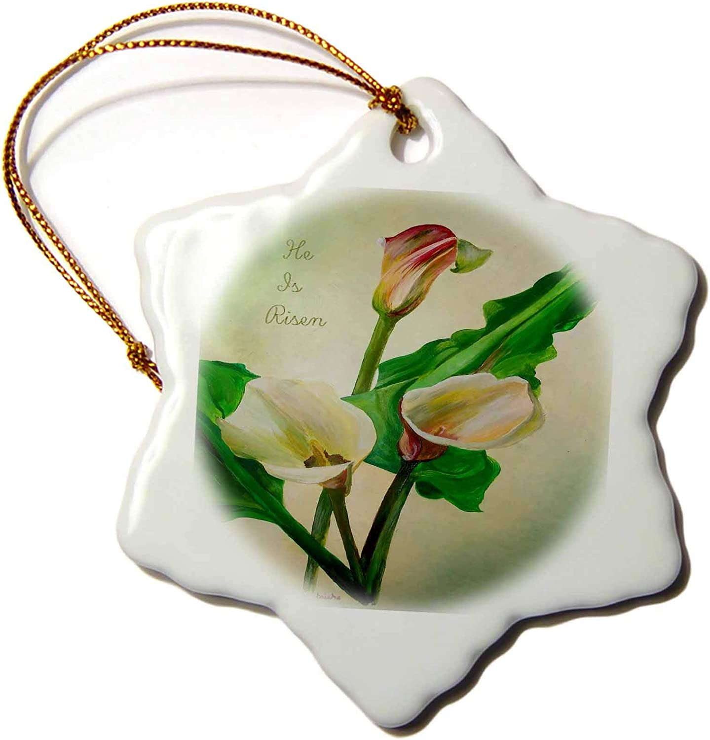 3dRose Artistic Subdued and Soft Calla Lilies Easter Greeting He ?s Risen - Ornaments (ORN_333858_1)