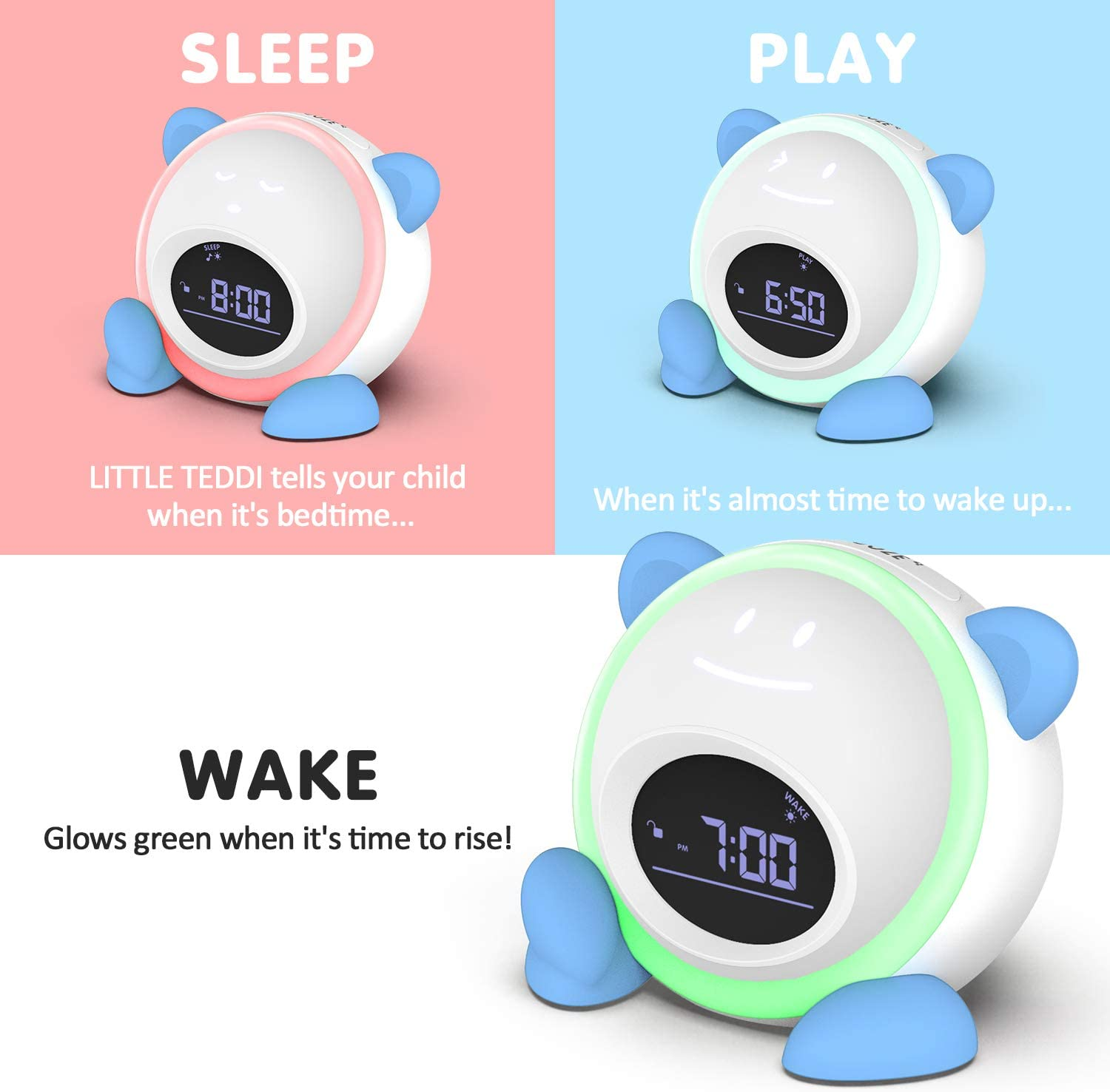 Sleep Sound Machine Nap Timer Night Light Sleep Trainer Windflyer All-in-One Kids Alarm Clock with Facial Expressions
