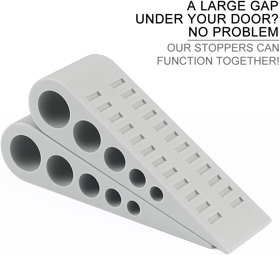Works on All Surface Rubber Door Stopper by Paissite Grey 3 Pack Heavy Duty Door Stop Wedge with Decorative Holder for Home and Office