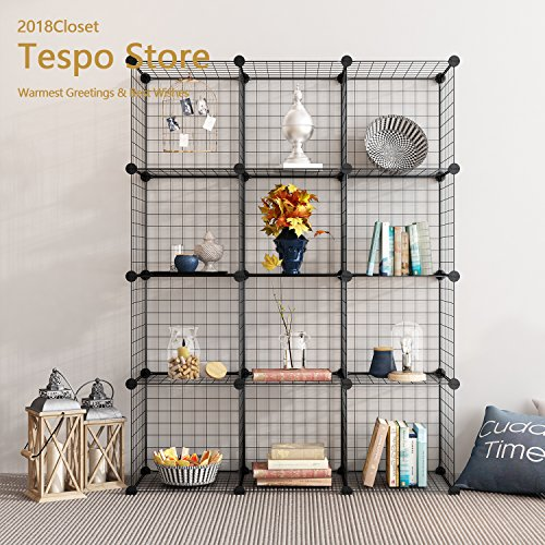 Tespo Metal Wire Storage Cubes, Modular Shelving Grids, DIY Closet Organization System, Bookcase, Cabinet, (12 - Regular Cube.) (Shelf Metal Interlocking)