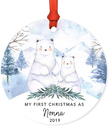 Polar Bears in Red Ceramic Keepsake 1st Christmas as a Family Tree Decoration