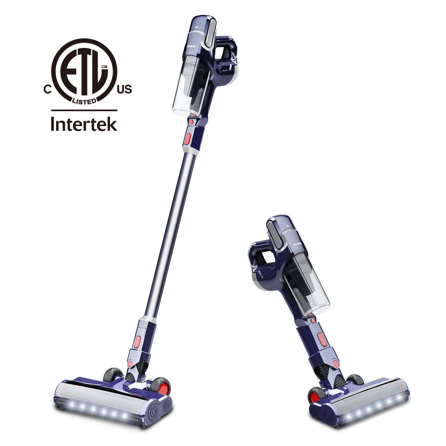 NOVETE Cordless Vacuum Cleaner, 2 in 1 Stick Vacuum with Samsung Detachable Lithium Battery,  Lightweight Bagless Handheld Vacuum for Floor Carpet Car Pet Hair, LED Cleaning Head and Wall Mount