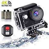 Sport Action Camera 4K, Siroflo 12MP 1080P Full HD Sports Cam with Remote Control, 98ft Underwater Camera DV Camcorder 170 Degree Wide Angle Lens and 2 Rechargeable Batteries and Accessories Kits