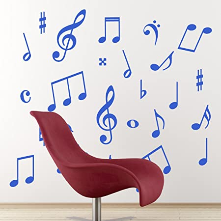 Pack of 50 Music Wall Stickers - Music Symbols Wall Decals