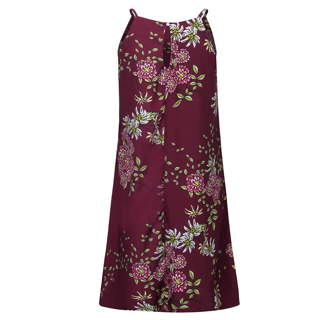 Sleeveless Boho Print Dress Casual Mini Beachwear Sundress Loose Simple Sundress ❤️Sumeimiya Womens Halter Neck Dress