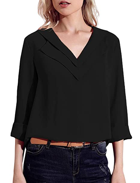 ff421395f6596 GRAPENT Women s Casual V Neck Long Sleeve Blouses Tops Loose Fit Solid Tee  Shirt at Amazon Women s Clothing store