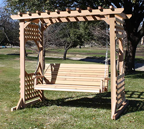 Cedar Arbor Swing - THREE MAN Cedar Colonial Garden Arbor with 5 Foot Swing - Stained