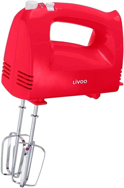 Batidora de mano para cocina, 5 niveles, batidora, amasadora, batidora, 200 W, botón de expulsión, batidora, agitador, color rojo: Amazon.es: Hogar