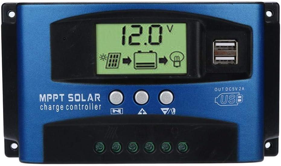 Fossrn MPPT Regulador de Carga 40A / 50A / 60A / 100A Regulador de Paneles solares Controlador de Carga de Inteligente 12V / 24V Auto Seguimiento de Enfoque (40A)