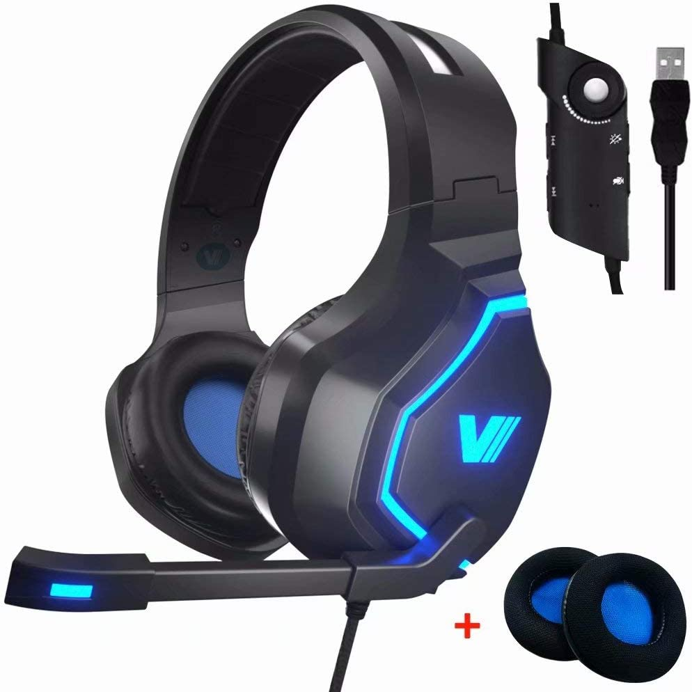 VWELL PC Gaming Headset PS4 Headset with LED Light Noise Cancelling Mic 7.1 Surround Sound, 2019 Edition Gaming Headphones for PC Laptop Gamers