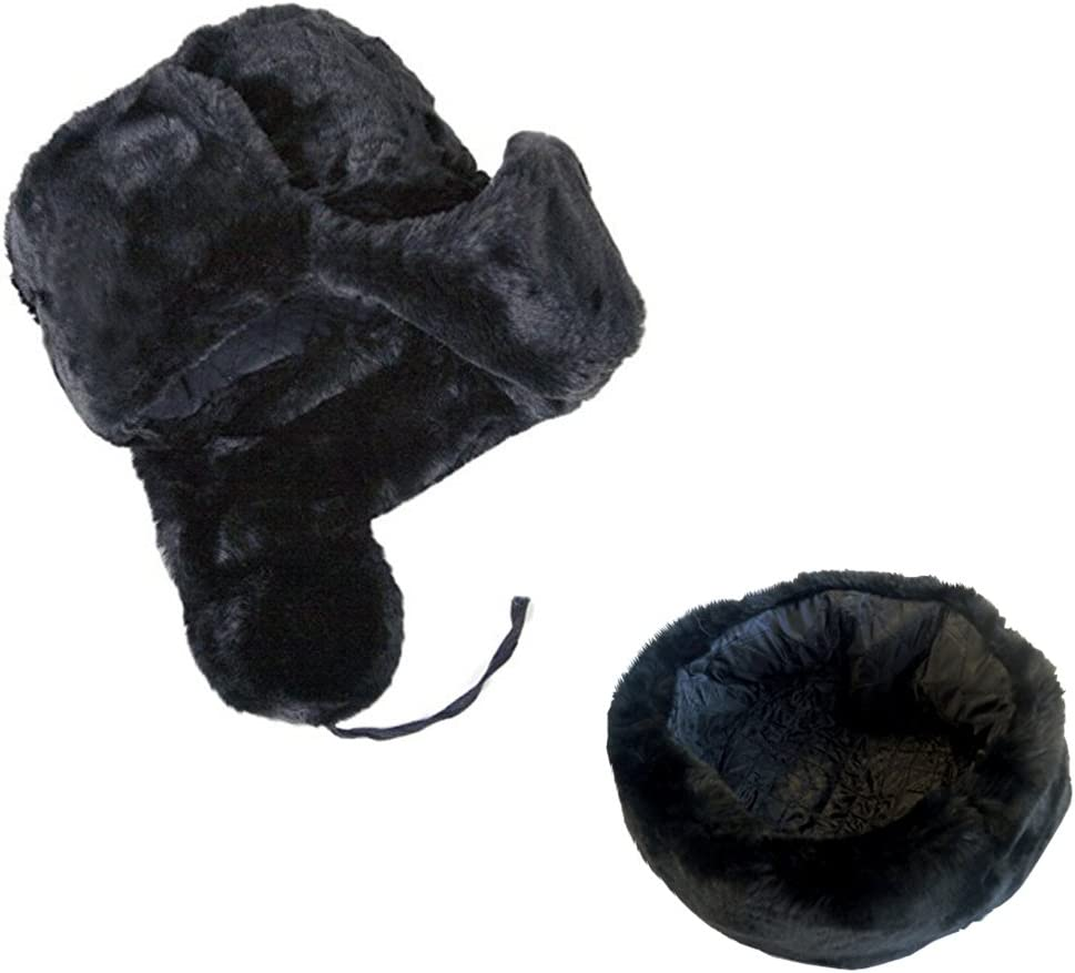 Cucuba/® Noir Chapeau DE Laine avec Couverture DE LOREILLE Russia Ushanka Marine Russe ID/ÉE Cadeaux