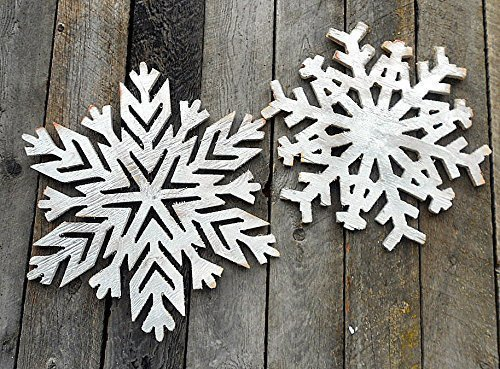 Amazoncom Two Large Wooden Silver Snowflakes Christmas Holidays