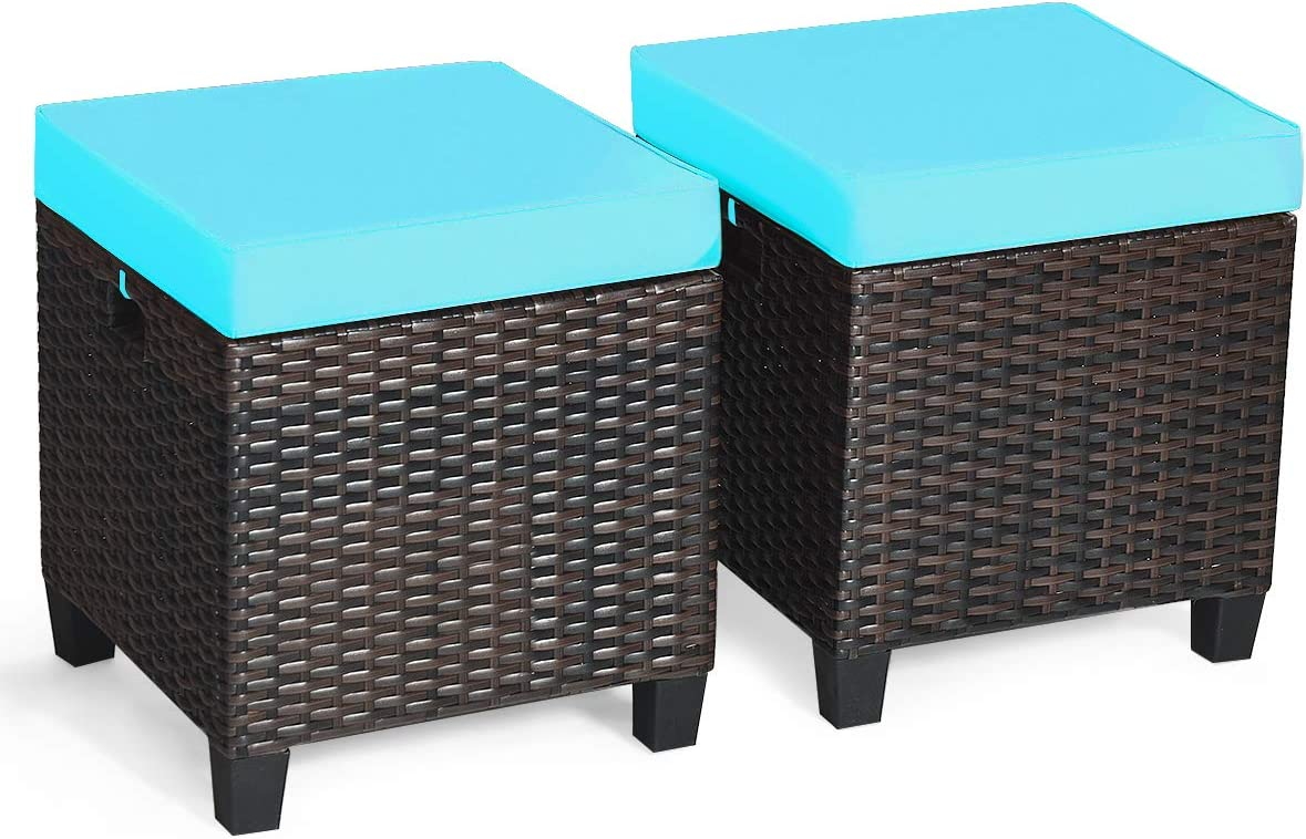 Tangkula 2 Pieces Outdoor Patio Ottoman, All Weather Rattan Wicker Ottoman Seat, Patio Rattan Furniture, Outdoor Footstool Footrest Seat w/ Removable Cushions (Turquoise)