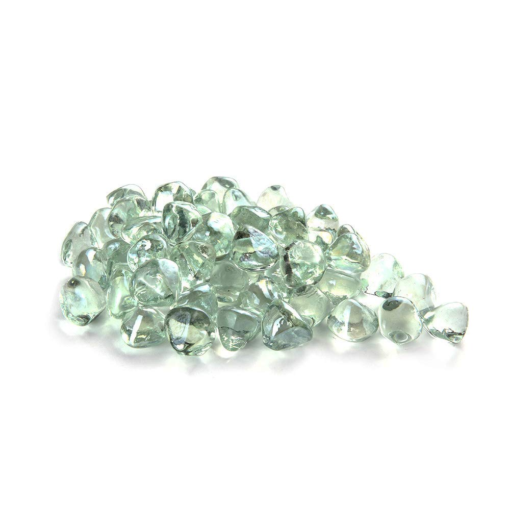 MITOO Fire Pit Glass Rocks - Fire Glass Rocks for Gas Fireplace Indoor & Outdoor Fireplace Rocks, Propane Fire Rocks Beads - Semi-Reflective | 10 Pounds | Unique Diamond Shape, White Multicolore