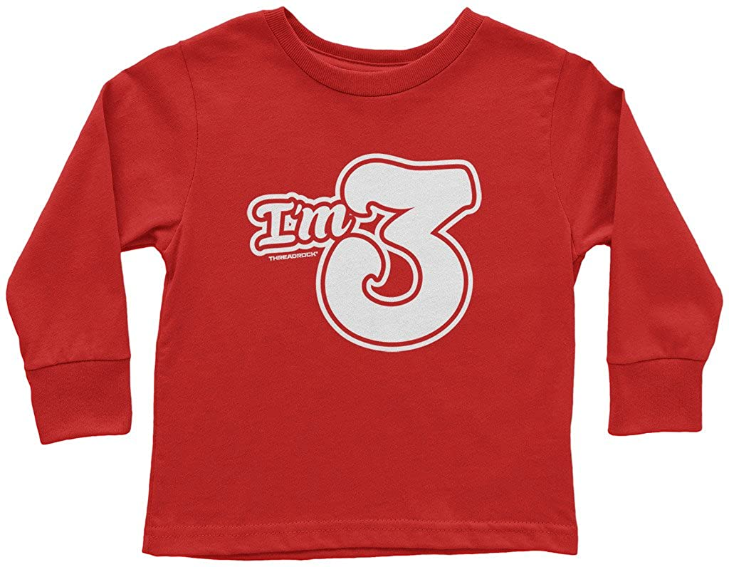 Threadrock Little Boys Im 3 Third Birthday Toddler L//S T-Shirt