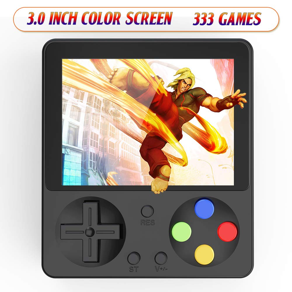 Ruihoxin Handheld Game Console, 333 Classic Games 3.0 inch HD LCD Screen Portable Video Game, Retro Game Console can be Played on TV, Good Gift for Children and Adults, Gifts. (Black) by Ruihoxin (Image #1)