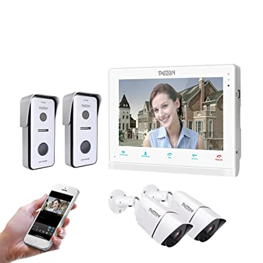 TMEZON Wireless Video Door Phone Doorbell Intercom System,10 Inch ...