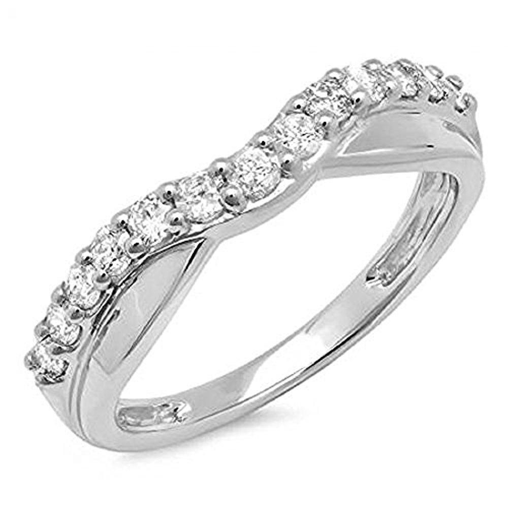 Disneyjewels 0.55 Carat (Ctw) 10K White Gold Plated Created Round Cut White Diamond Ladies Anniversary Wedding Guard Contour Band 1/2 CT SVC-0002
