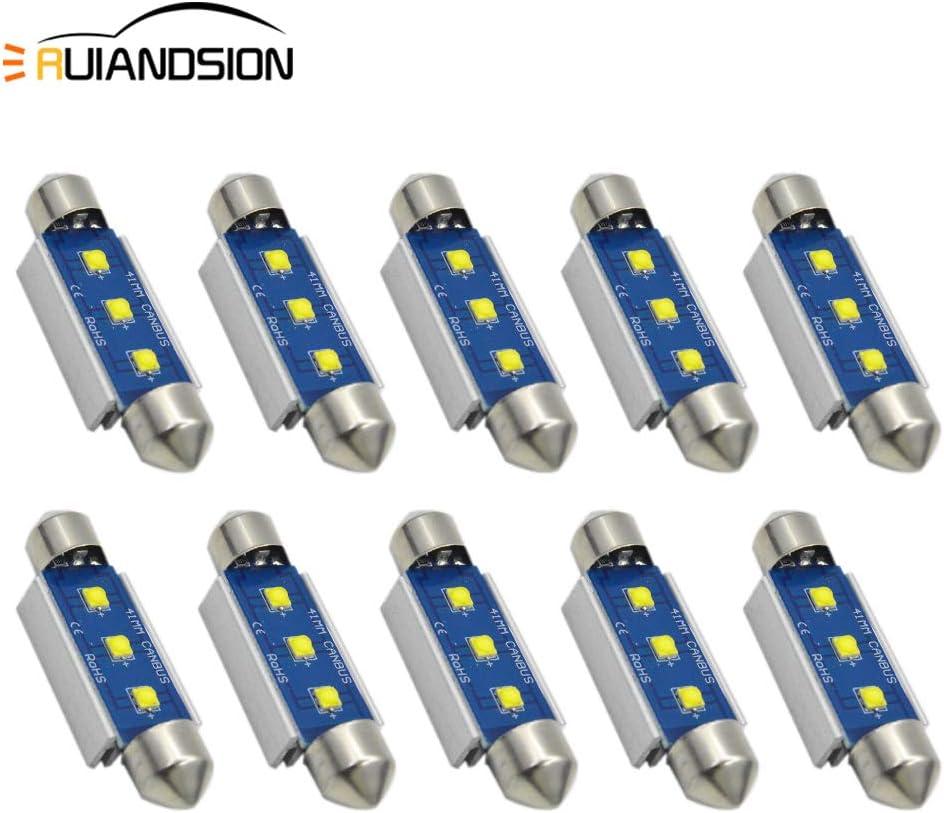 luce abitacolo senza errori luce targa colore bianco super luminoso Ruiandsion Canbus Cree 3SMD per interni auto Set di 10 lampadine LED a siluro da 41 mm chipset LED per auto