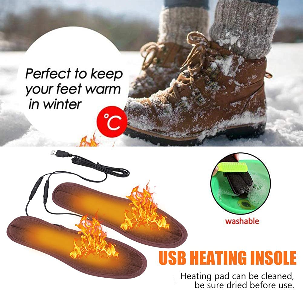 USB Heated Insoles,Electric Power Heating Insoles Thermal Soles Warmer Shoes Boots Insoles Keep Feet Warmer Shoe Heater Unisex Shoe Pad for Men//Women 37-38 24cm//9.4in