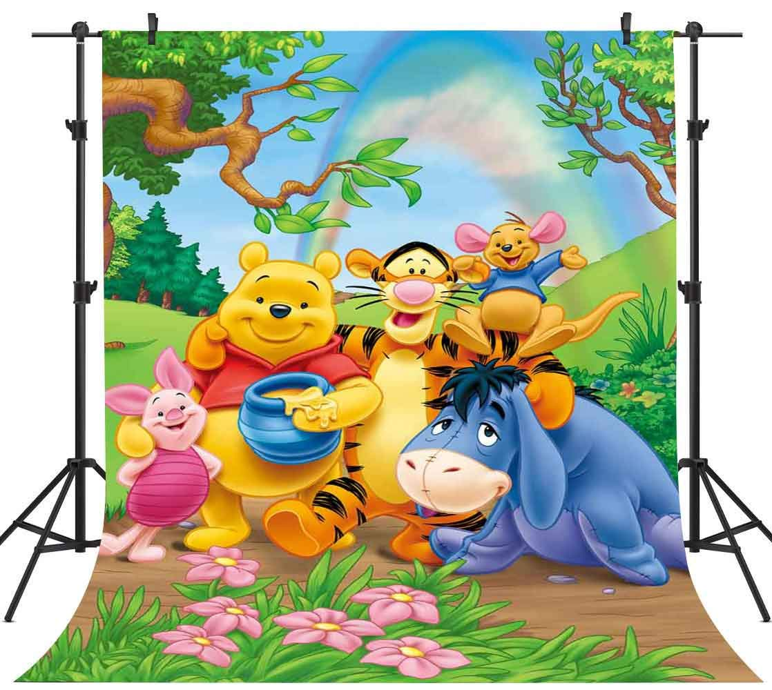 FHZON 5x7ft Winnie The Pooh and Friends Picture Background Rainbow Green Grass Leaves Photography Backdrop Children Baby Newborn Birthday Party Studio Video Prop LXFH274