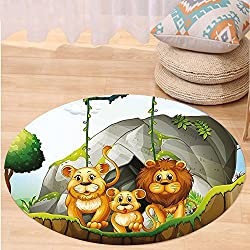 Kisscase Custom carpetForest Lion Family in the Jungle Woods King Zoo Nursery Illustration for Bedroom Living Room Dorm Apricot Chocolate Hunter Green