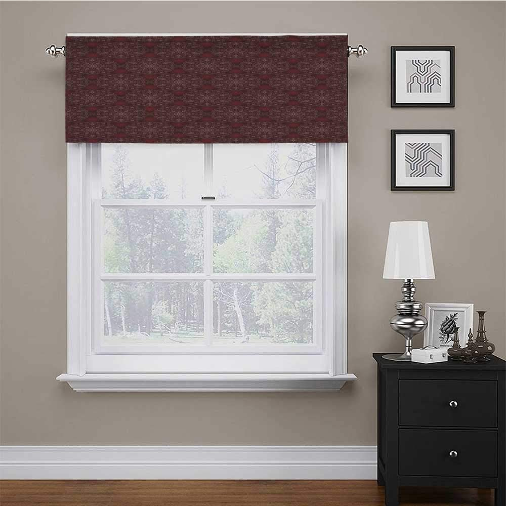 Window Curtain Valance Detailed Ornate Flowers Curves Swirls Petals Dusky Victorian Garden Theme Print Window Valance for Kitchen Living Dining Room Maroon Burgundy White 54 x 18 Inch