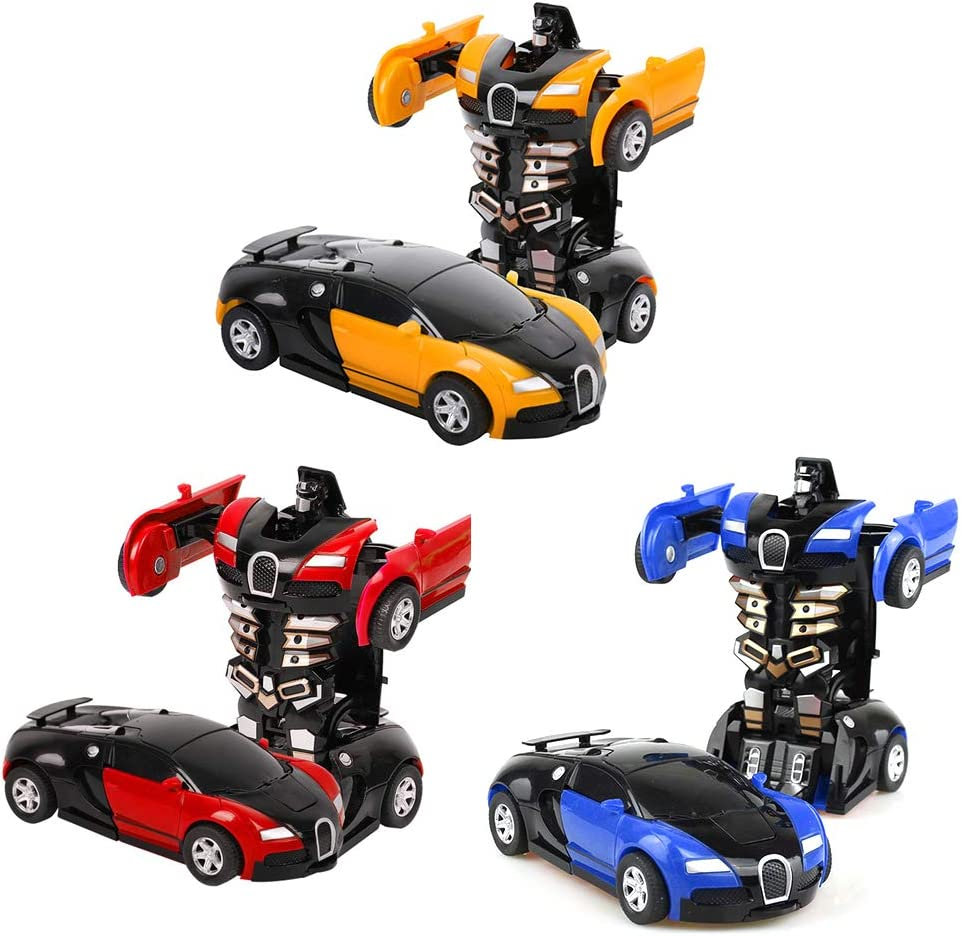 Egosy 3 Pieces Transformer Robot Car Remote Controlled Transformers Car Robot Transformable Wall Climber Car With Led And 360 /° Rotation Stunt Car Rc Toy Car For Children Kid Gift