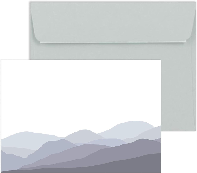 Welsh Heather Hills - Juego de tarjetas con sobres grises