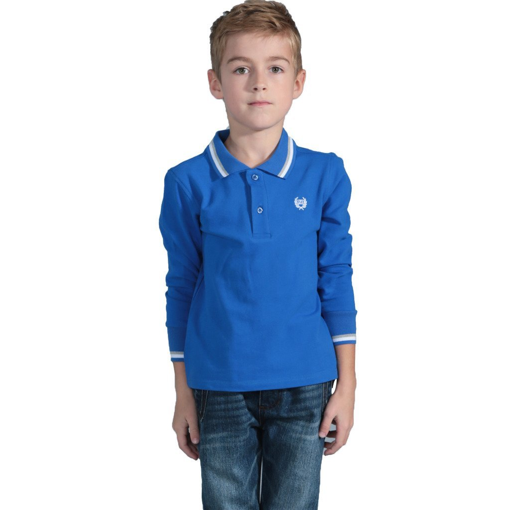 Leo&Lily Boys Long Sleeve Regular Fit Fine Pique Polo Shirts Blue 8 by Leo&Lily (Image #1)