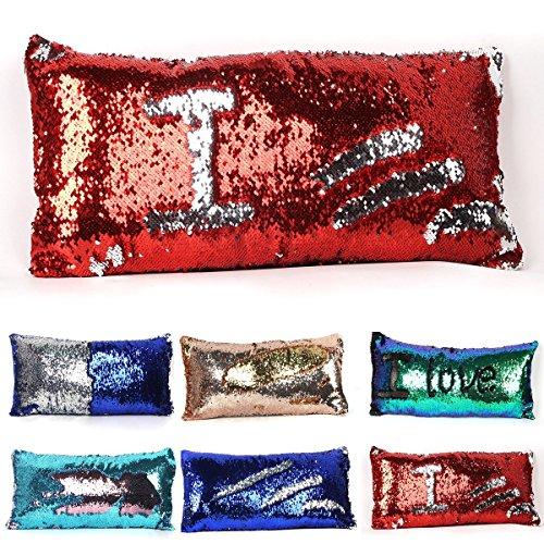 Tiaronics Magic Reversible Sequins Mermaid Pillow Cases Throw Pillow CoversDecorative Pillowcase 4040cm(1616) (3060cm Red Silver)