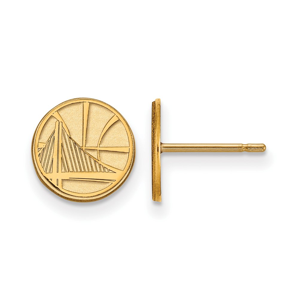 LogoArt NBA 14k Yellow Gold Plated Sterling Silver Golden State Warriors XS Post Earrings
