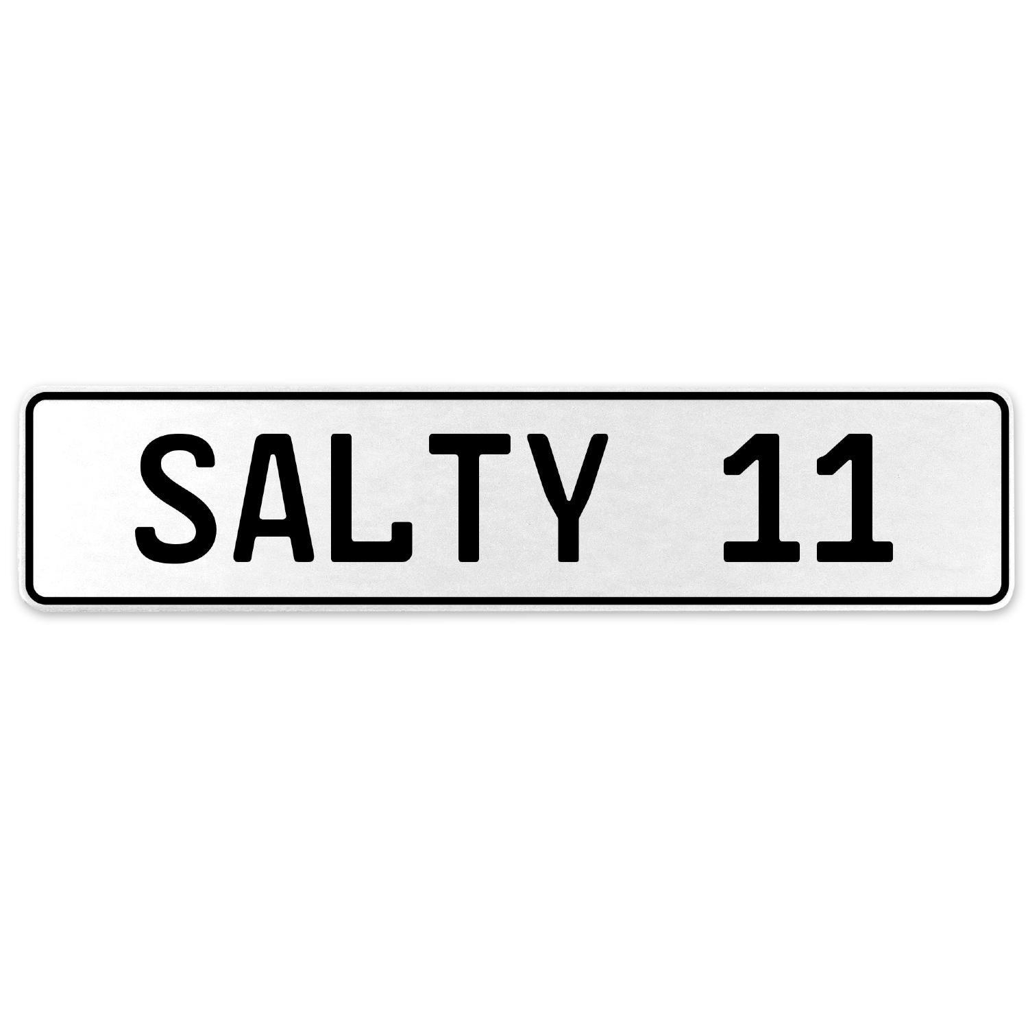 Vintage Parts 556687 Salty 11 White Stamped Aluminum European License Plate