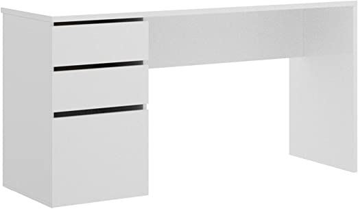HOMEKIT Mesa Escritorio cajones y Puerta, Blanco, 139x75x50 cm ...